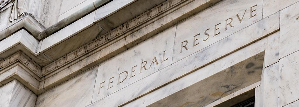 Entrance to the federal reserve building.