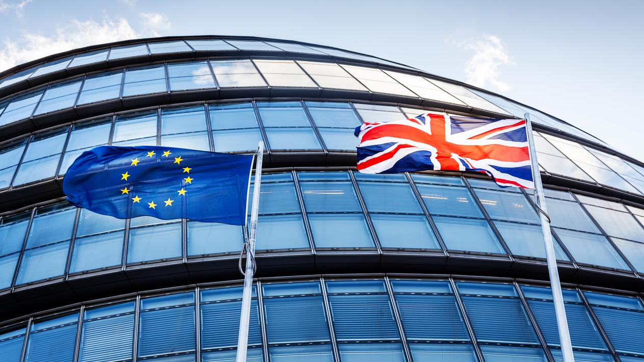 British and European Union flags in front of a building