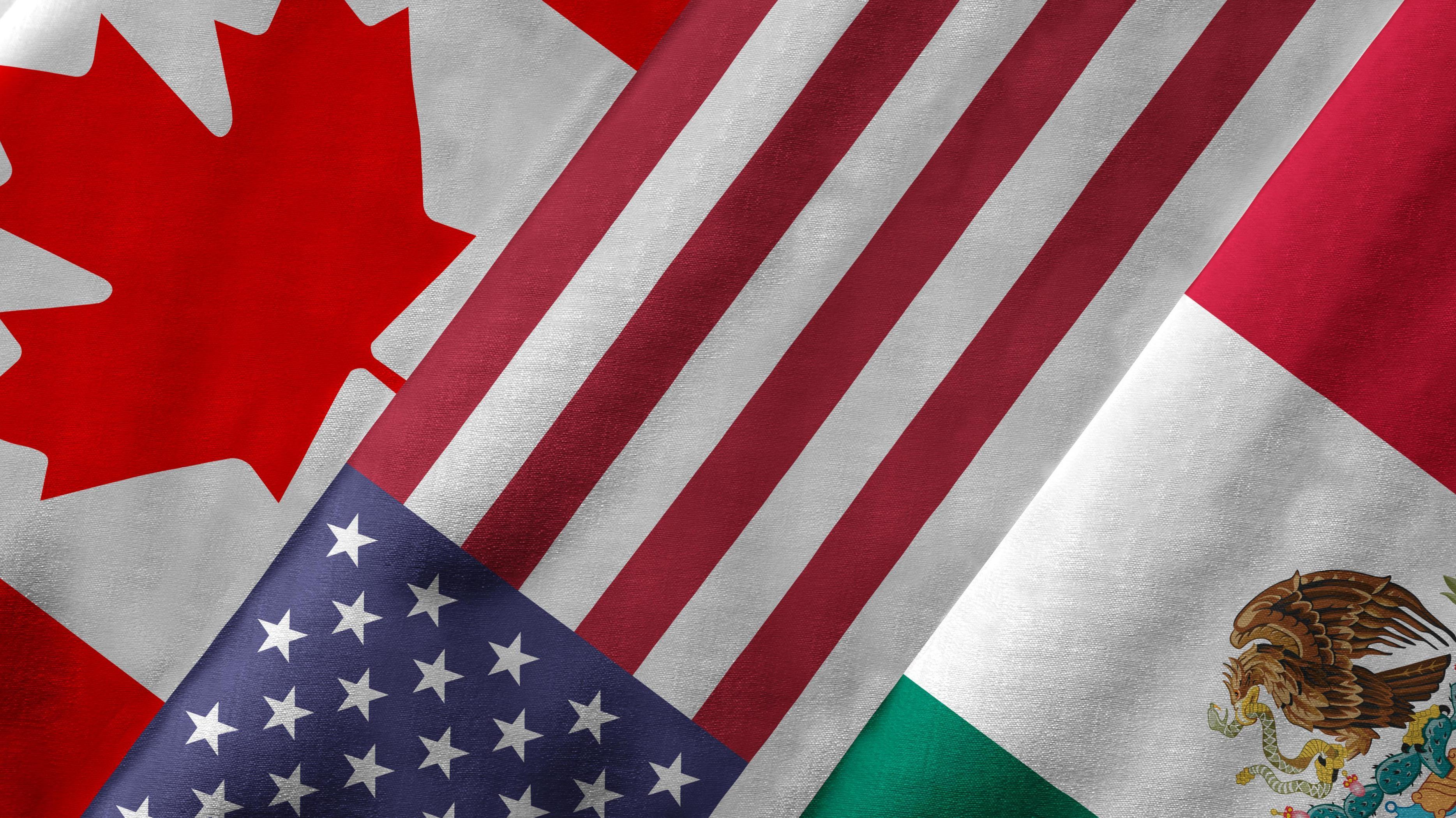 Us, Canada and Mexico Flags