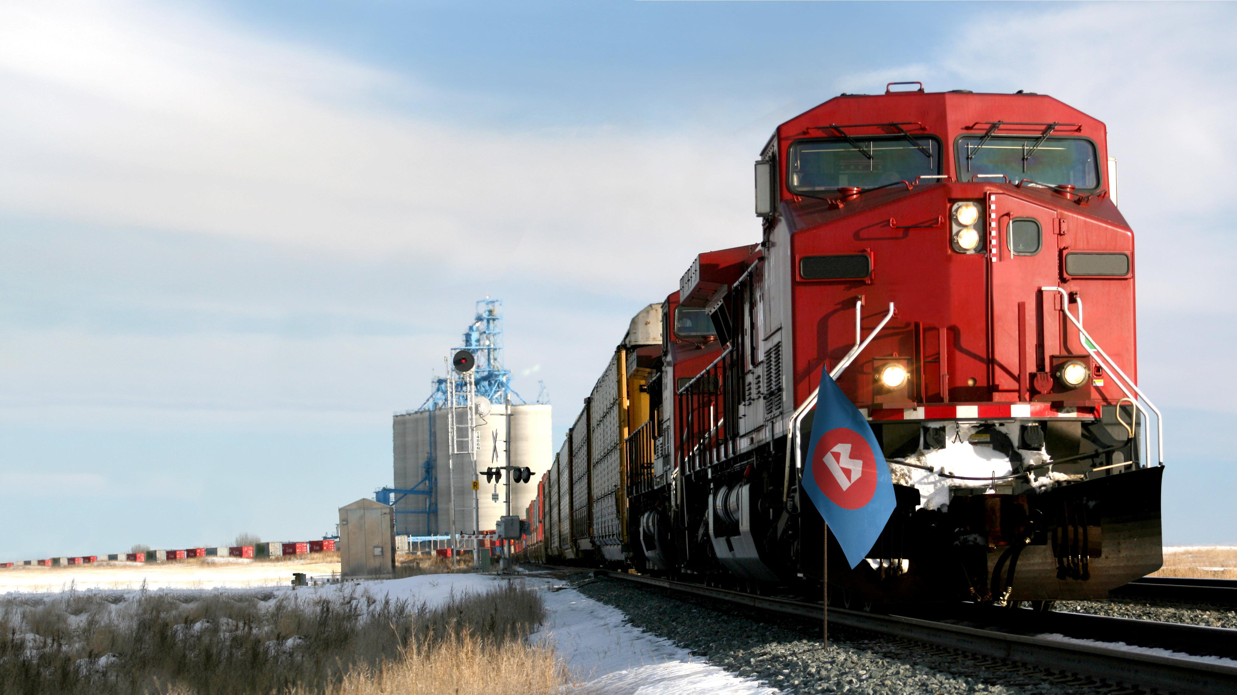 Trains bringing goods from Canada to the US